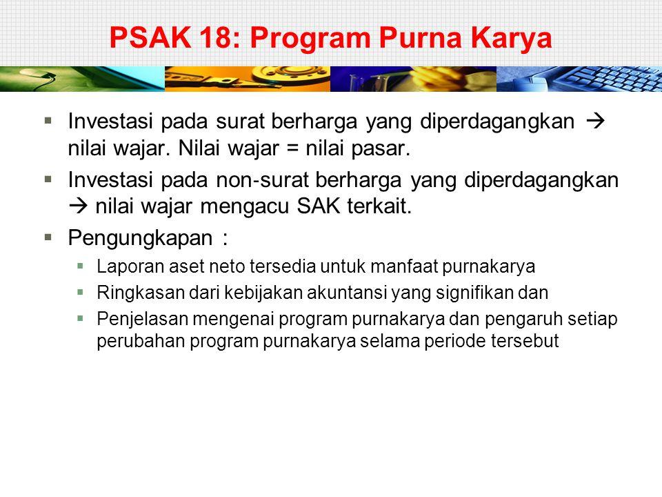 PSAK 18: Program Purna Karya  Investasi pada surat berharga yang diperdagangkan  nilai wajar. Nilai wajar = nilai pasar.  Investasi pada non ‐ sura