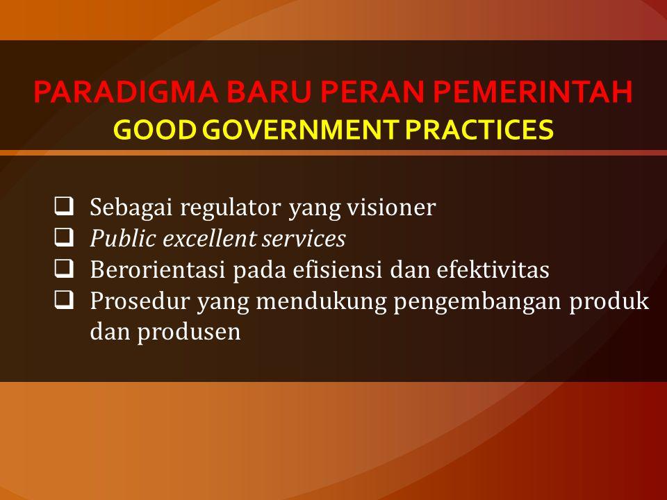 PARADIGMA BARU PERAN PEMERINTAH GOOD GOVERNMENT PRACTICES  Sebagai regulator yang visioner  Public excellent services  Berorientasi pada efisiensi dan efektivitas  Prosedur yang mendukung pengembangan produk dan produsen