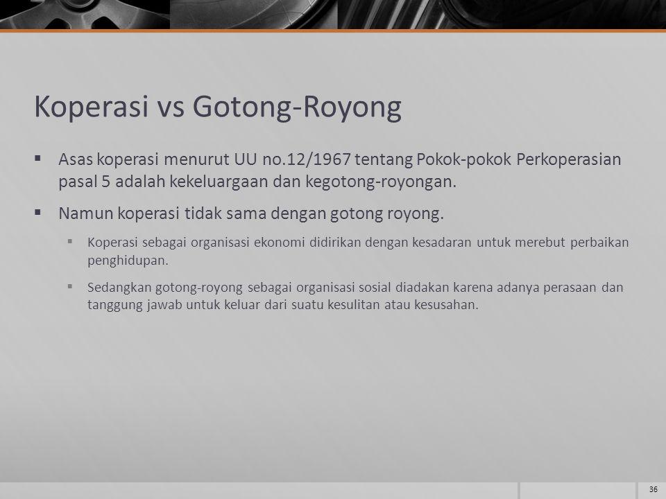 Koperasi vs Gotong-Royong  Asas koperasi menurut UU no.12/1967 tentang Pokok-pokok Perkoperasian pasal 5 adalah kekeluargaan dan kegotong-royongan.