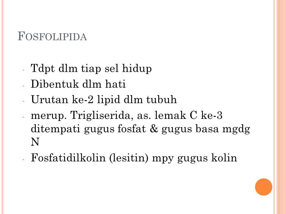 F OSFOLIPIDA - Tdpt dlm tiap sel hidup - Dibentuk dlm hati - Urutan ke-2 lipid dlm tubuh - merup.