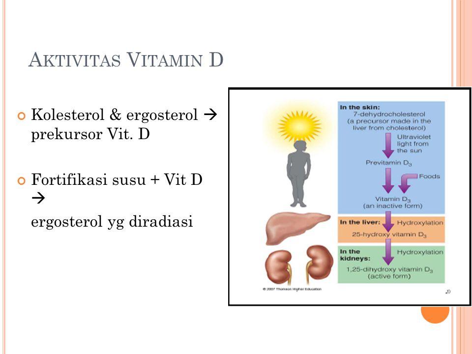 A KTIVITAS V ITAMIN D Kolesterol & ergosterol  prekursor Vit. D Fortifikasi susu + Vit D  ergosterol yg diradiasi