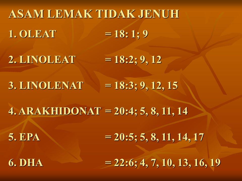 ASAM LEMAK TIDAK JENUH 1. OLEAT = 18: 1; 9 2. LINOLEAT= 18:2; 9, 12 3. LINOLENAT= 18:3; 9, 12, 15 4. ARAKHIDONAT= 20:4; 5, 8, 11, 14 5. EPA= 20:5; 5,