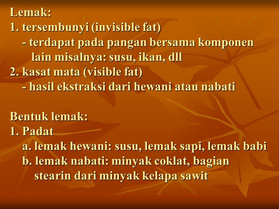 Lemak: 1. tersembunyi (invisible fat) - terdapat pada pangan bersama komponen lain misalnya: susu, ikan, dll 2. kasat mata (visible fat) - hasil ekstr