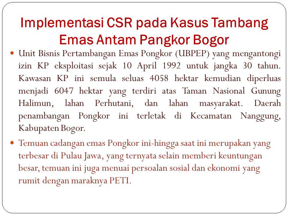 Implementasi CSR pada Kasus Tambang Emas Antam Pangkor Bogor Unit Bisnis Pertambangan Emas Pongkor (UBPEP) yang mengantongi izin KP eksploitasi sejak