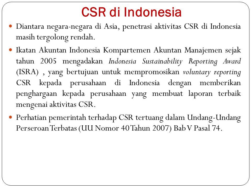 CSR di Indonesia Diantara negara-negara di Asia, penetrasi aktivitas CSR di Indonesia masih tergolong rendah. Ikatan Akuntan Indonesia Kompartemen Aku