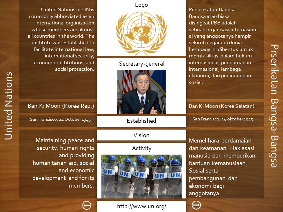 Vision Dibentuk di, pada Logo Secretary-general Established Activity Prserikatan Bangsa-Bangsa United Nations United Nations or UN is commonly abbreviated as an international organization whose members are almost all countries in the world.