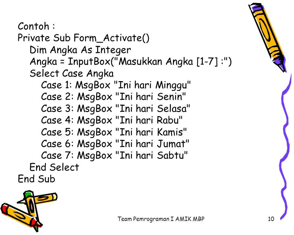 Team Pemrograman I AMIK MBP10 Contoh : Private Sub Form_Activate() Dim Angka As Integer Angka = InputBox( Masukkan Angka [1-7] : ) Select Case Angka Case 1: MsgBox Ini hari Minggu Case 2: MsgBox Ini hari Senin Case 3: MsgBox Ini hari Selasa Case 4: MsgBox Ini hari Rabu Case 5: MsgBox Ini hari Kamis Case 6: MsgBox Ini hari Jumat Case 7: MsgBox Ini hari Sabtu End Select End Sub
