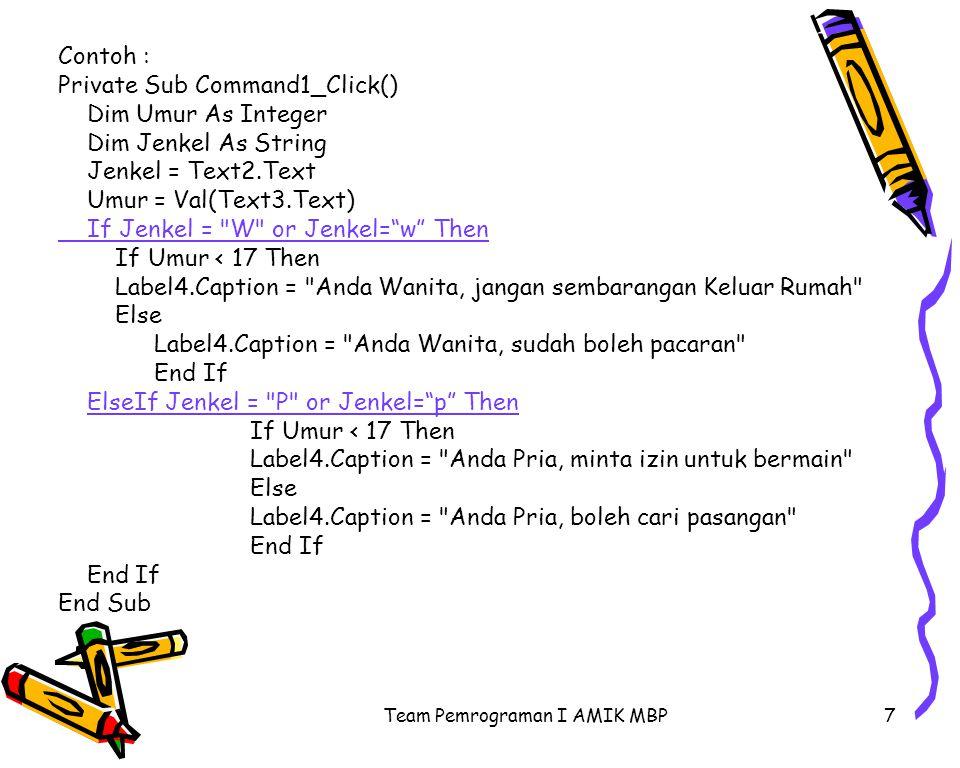 Team Pemrograman I AMIK MBP8