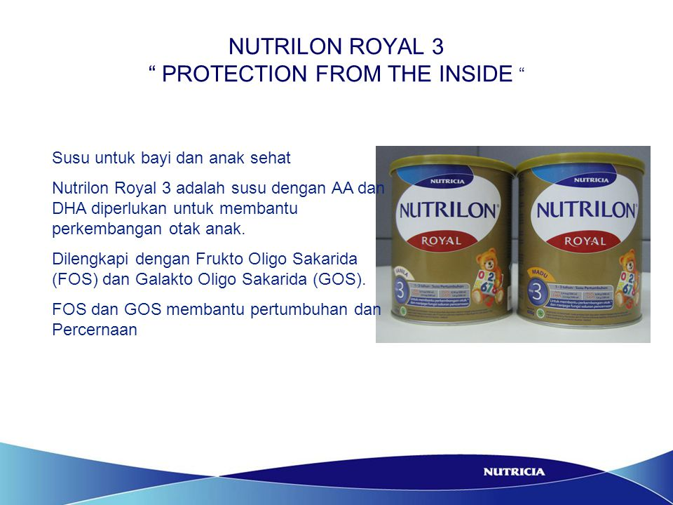 """NUTRILON ROYAL 3 """" PROTECTION FROM THE INSIDE """" Susu untuk bayi dan anak sehat Nutrilon Royal 3 adalah susu dengan AA dan DHA diperlukan untuk membant"""