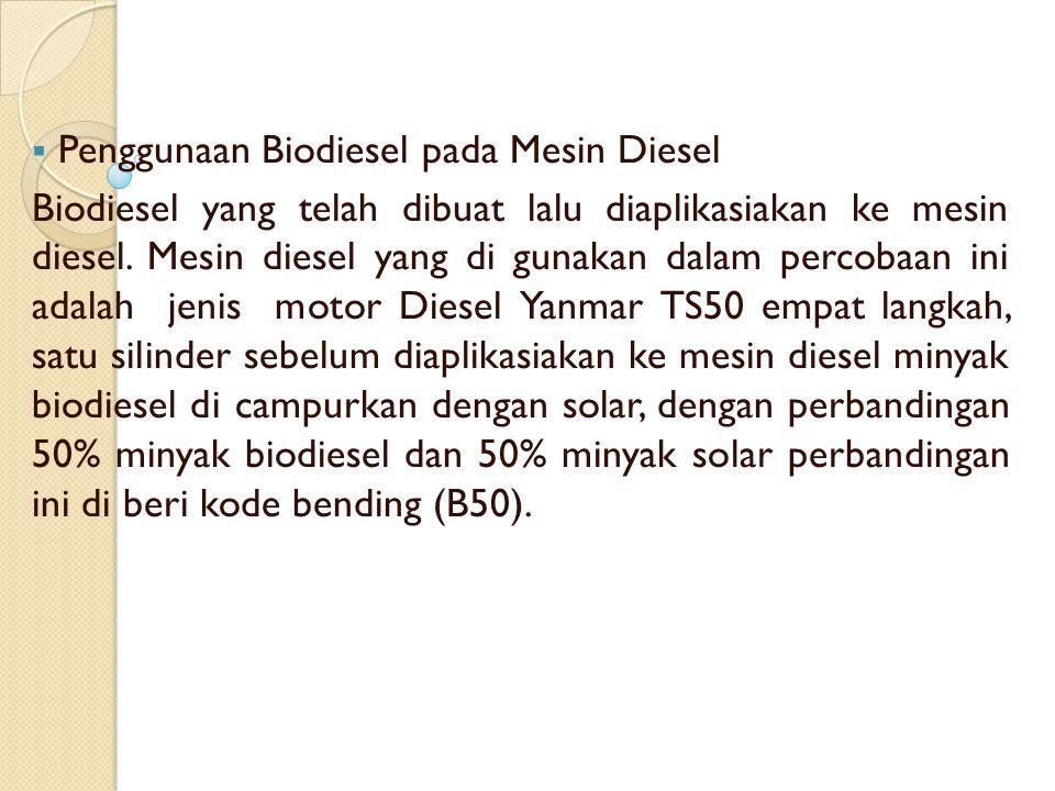  Penggunaan Biodiesel pada Mesin Diesel Biodiesel yang telah dibuat lalu diaplikasiakan ke mesin diesel. Mesin diesel yang di gunakan dalam percobaan