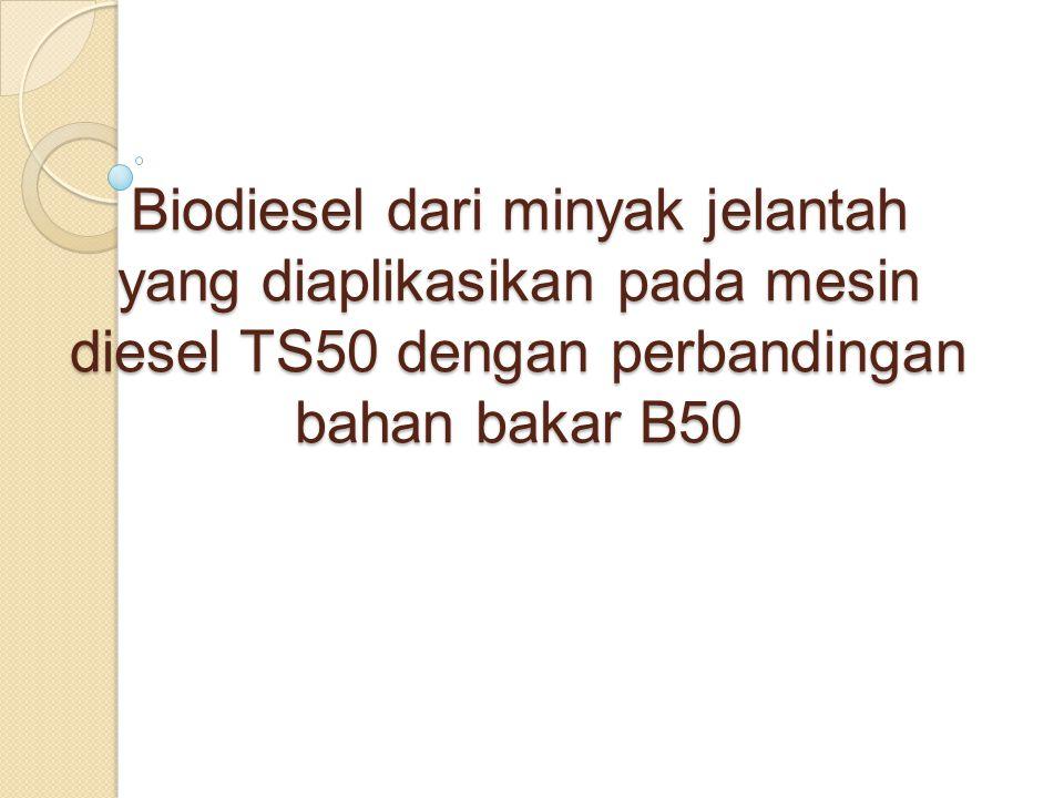 ABSTRAKSI Biodiesel merupakan bahan alternatif pengganti solar yang memiliki sifat fisik yang serupa dengan solar.