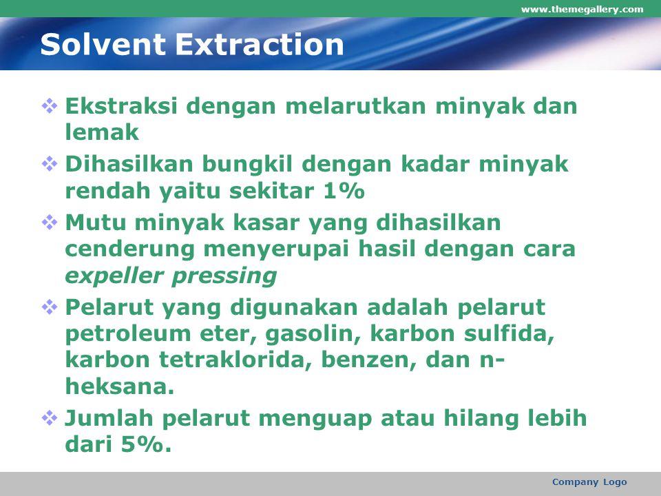 Solvent Extraction  Ekstraksi dengan melarutkan minyak dan lemak  Dihasilkan bungkil dengan kadar minyak rendah yaitu sekitar 1%  Mutu minyak kasar