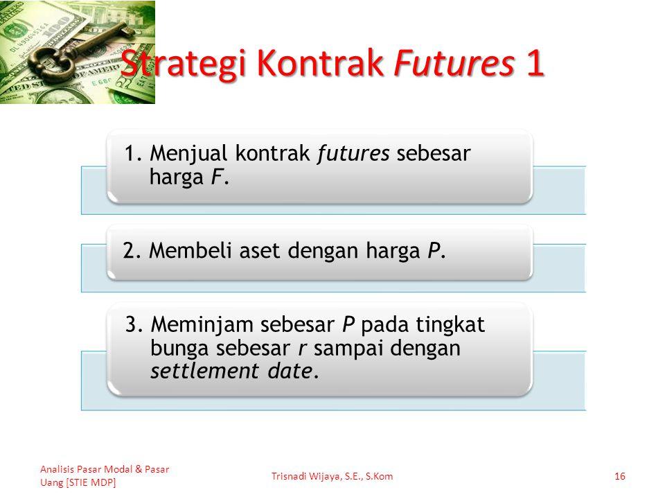 Strategi Kontrak Futures 1 Analisis Pasar Modal & Pasar Uang [STIE MDP] Trisnadi Wijaya, S.E., S.Kom16 1. Menjual kontrak futures sebesar harga F. 2.