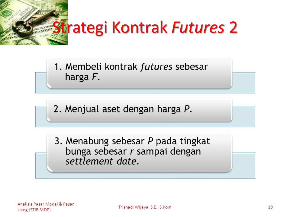Strategi Kontrak Futures 2 Analisis Pasar Modal & Pasar Uang [STIE MDP] Trisnadi Wijaya, S.E., S.Kom19 1. Membeli kontrak futures sebesar harga F. 2.