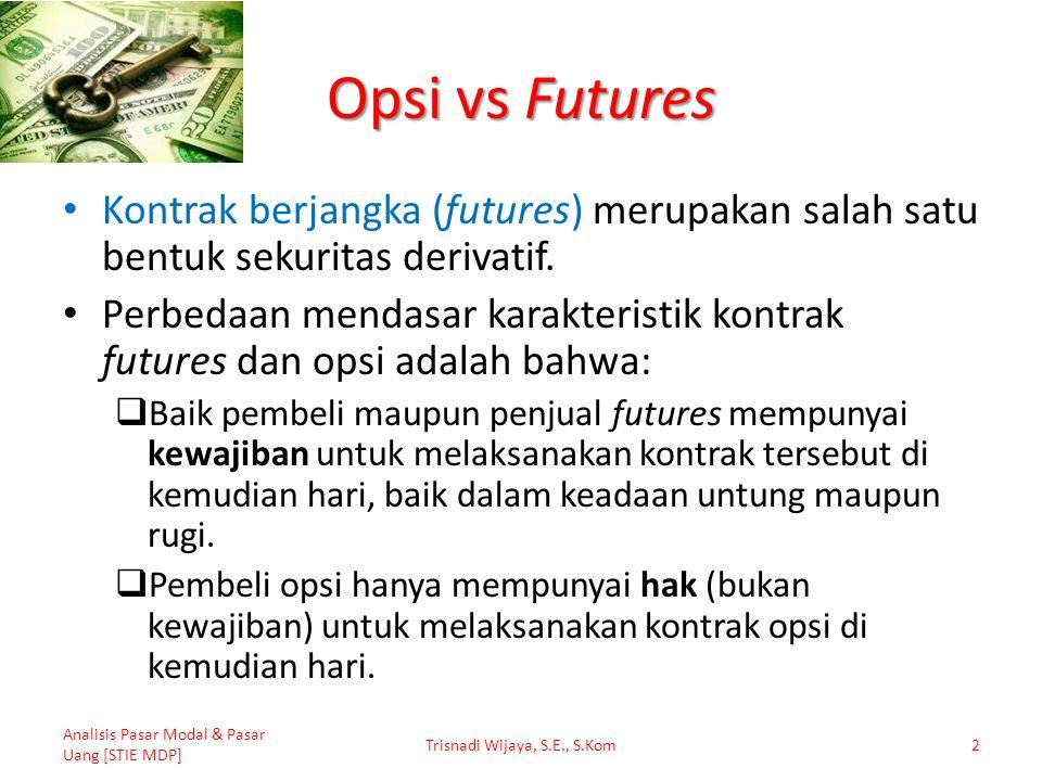 Opsi vs Futures Kontrak berjangka (futures) merupakan salah satu bentuk sekuritas derivatif. Perbedaan mendasar karakteristik kontrak futures dan opsi