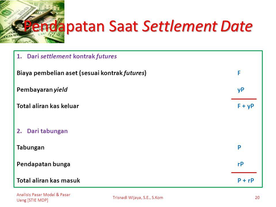 Pendapatan Saat Settlement Date Analisis Pasar Modal & Pasar Uang [STIE MDP] Trisnadi Wijaya, S.E., S.Kom20 1.Dari settlement kontrak futures Biaya pe