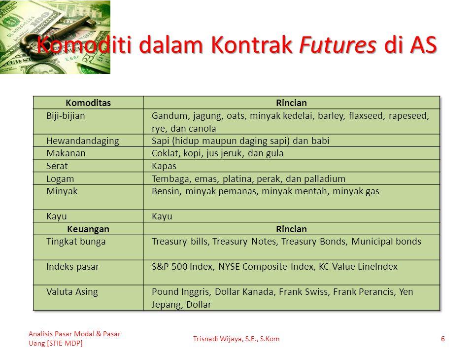 Komoditi dalam Kontrak Futures di AS Analisis Pasar Modal & Pasar Uang [STIE MDP] Trisnadi Wijaya, S.E., S.Kom6