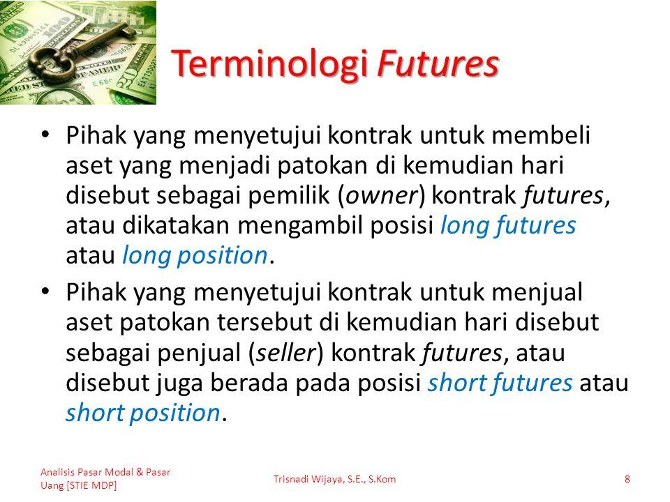 Terminologi Futures Pihak yang menyetujui kontrak untuk membeli aset yang menjadi patokan di kemudian hari disebut sebagai pemilik (owner) kontrak fut