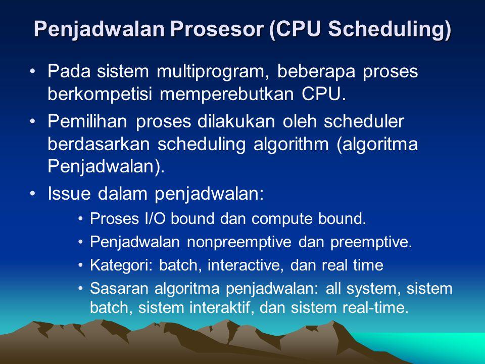 Penjadwalan Prosesor (CPU Scheduling) Pada sistem multiprogram, beberapa proses berkompetisi memperebutkan CPU. Pemilihan proses dilakukan oleh schedu