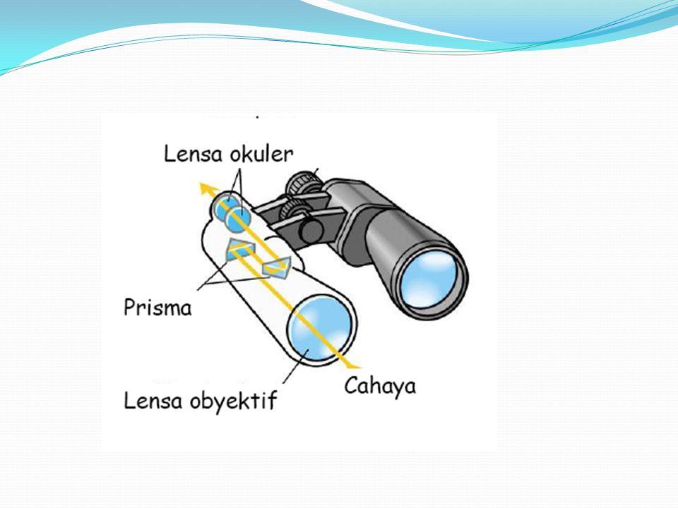 TEROPONG PRISMA DDisebut juga teropong binokuler UUntuk memperpendek teropong, lensa pembalik diganti dengan dua prisma samakaki yang akan memantu