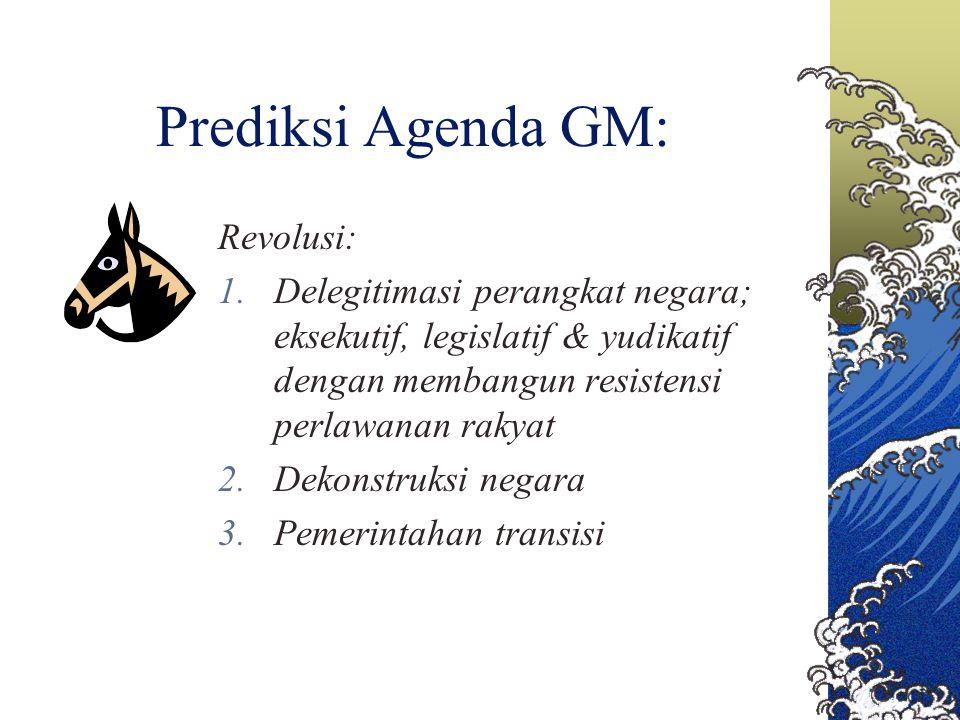 Prediksi Agenda GM: Revolusi: 1.Delegitimasi perangkat negara; eksekutif, legislatif & yudikatif dengan membangun resistensi perlawanan rakyat 2.Dekon
