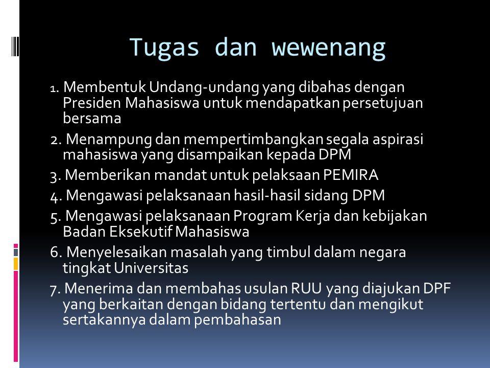 Tugas dan wewenang 1. Membentuk Undang-undang yang dibahas dengan Presiden Mahasiswa untuk mendapatkan persetujuan bersama 2. Menampung dan mempertimb