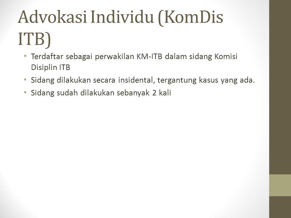 Advokasi Individu (KomDis ITB) Terdaftar sebagai perwakilan KM-ITB dalam sidang Komisi Disiplin ITB Sidang dilakukan secara insidental, tergantung kasus yang ada.