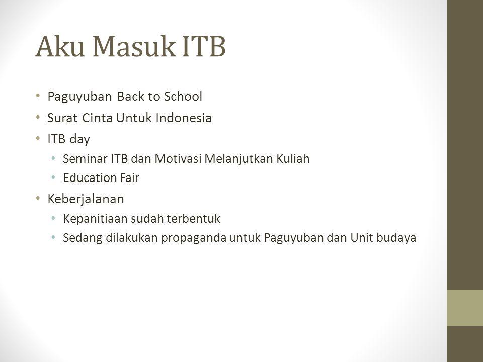 Aku Masuk ITB Paguyuban Back to School Surat Cinta Untuk Indonesia ITB day Seminar ITB dan Motivasi Melanjutkan Kuliah Education Fair Keberjalanan Kepanitiaan sudah terbentuk Sedang dilakukan propaganda untuk Paguyuban dan Unit budaya