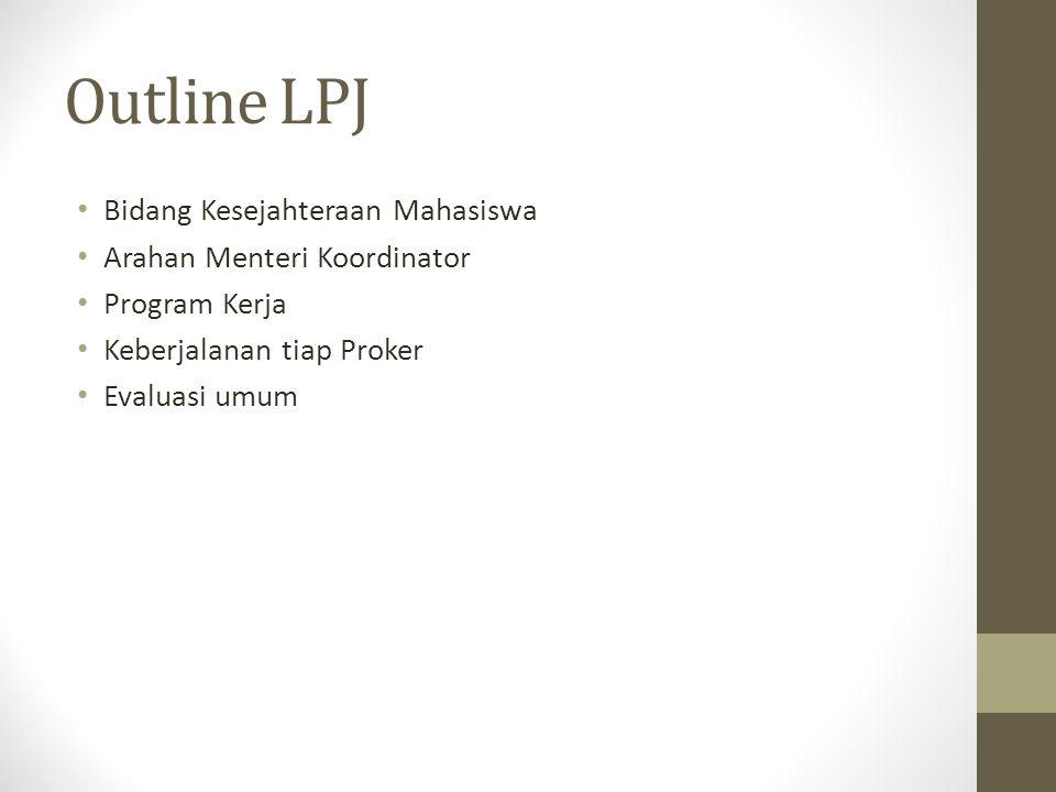 Outline LPJ Bidang Kesejahteraan Mahasiswa Arahan Menteri Koordinator Program Kerja Keberjalanan tiap Proker Evaluasi umum
