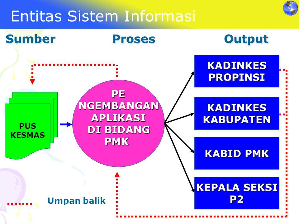 Entitas Sistem Informasi Sumber Proses Output PUS KESMAS PENGEMBANGANAPLIKASI DI BIDANG PMK KADINKESPROPINSI KADINKESKABUPATEN KABID PMK KEPALA SEKSI
