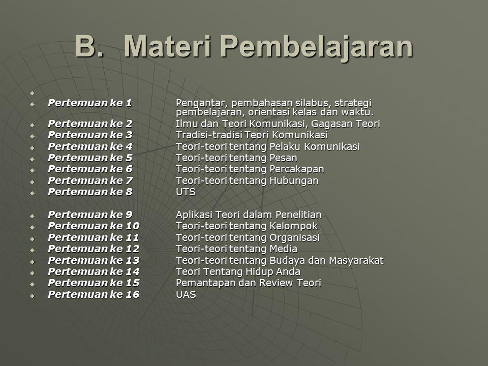 B. Materi Pembelajaran   Pertemuan ke 1 Pengantar, pembahasan silabus, strategi pembelajaran, orientasi kelas dan waktu.  Pertemuan ke 2 Ilmu dan T