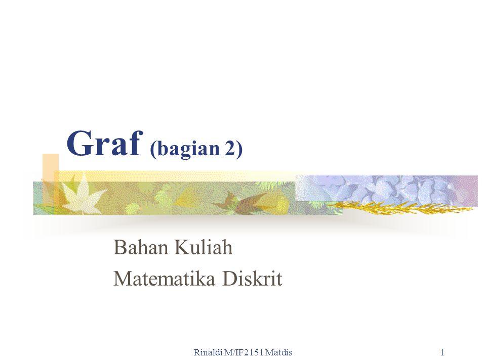 Rinaldi M/IF2151 Matdis1 Graf (bagian 2) Bahan Kuliah Matematika Diskrit