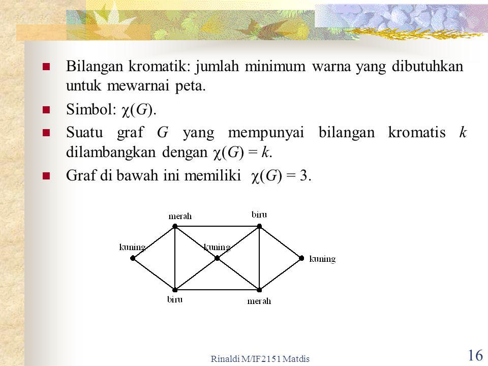 Rinaldi M/IF2151 Matdis 16 Bilangan kromatik: jumlah minimum warna yang dibutuhkan untuk mewarnai peta. Simbol:  (G). Suatu graf G yang mempunyai bil