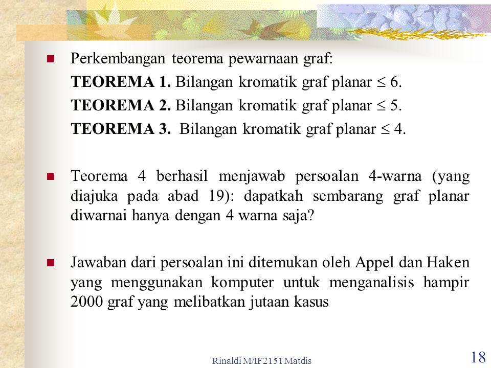 Rinaldi M/IF2151 Matdis 18 Perkembangan teorema pewarnaan graf: TEOREMA 1.