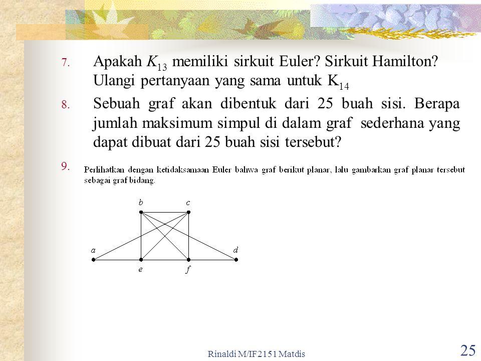 Rinaldi M/IF2151 Matdis 25 7. Apakah K 13 memiliki sirkuit Euler? Sirkuit Hamilton? Ulangi pertanyaan yang sama untuk K 14 8. Sebuah graf akan dibentu