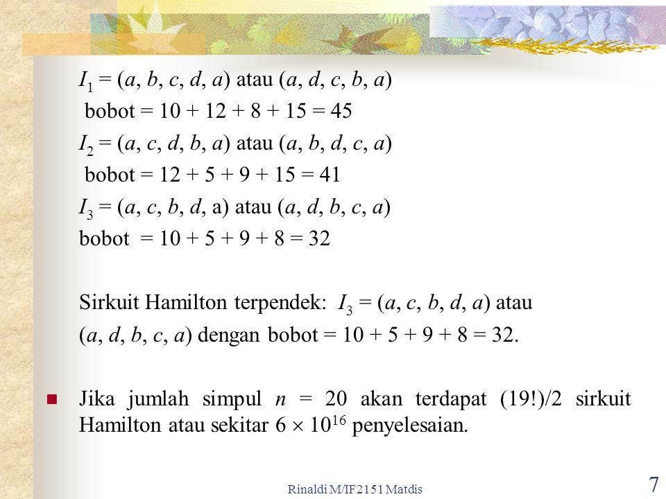 7 I 1 = (a, b, c, d, a) atau (a, d, c, b, a) bobot = 10 + 12 + 8 + 15 = 45 I 2 = (a, c, d, b, a) atau (a, b, d, c, a) bobot = 12 + 5 + 9 + 15 = 41 I 3