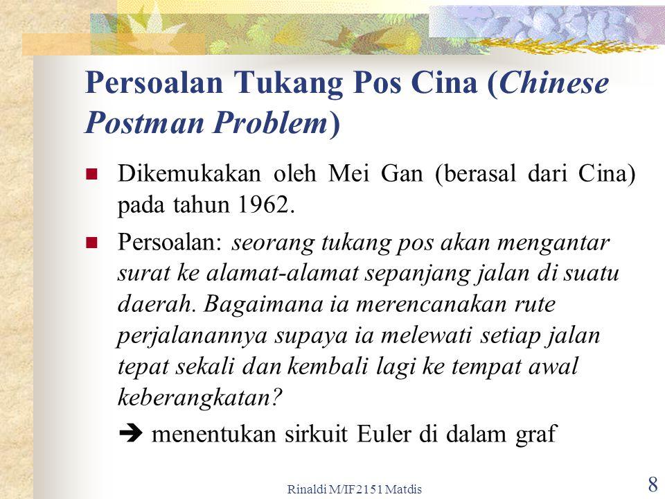 Rinaldi M/IF2151 Matdis 8 Persoalan Tukang Pos Cina (Chinese Postman Problem) Dikemukakan oleh Mei Gan (berasal dari Cina) pada tahun 1962. Persoalan: