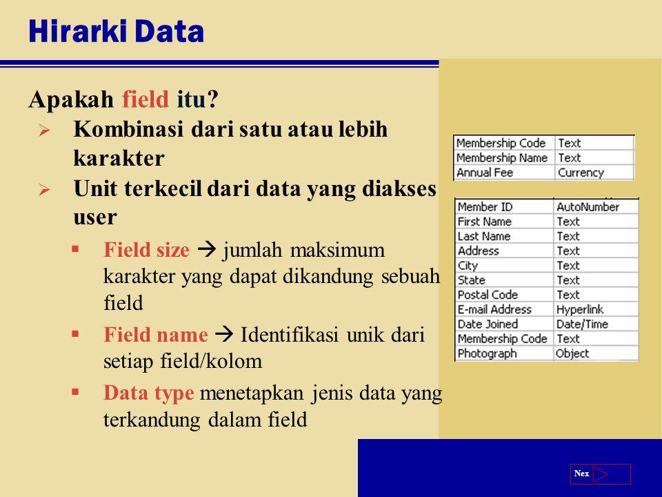 Next Hirarki Data Apakah field itu?  Kombinasi dari satu atau lebih karakter  Unit terkecil dari data yang diakses user  Field size  jumlah maksim