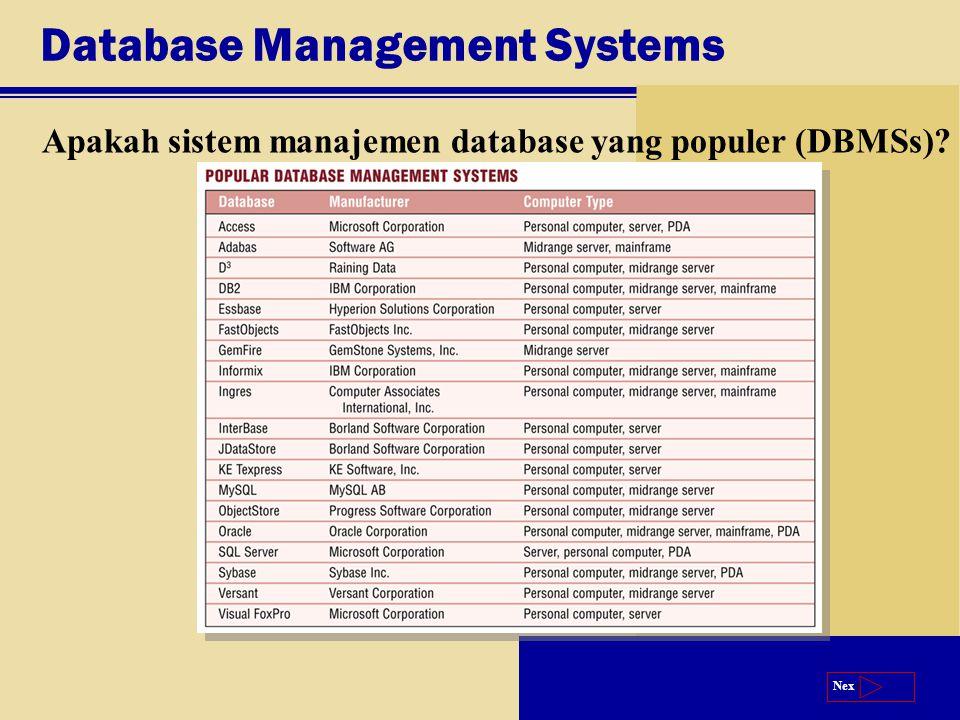 Next Database Management Systems Apakah sistem manajemen database yang populer (DBMSs)