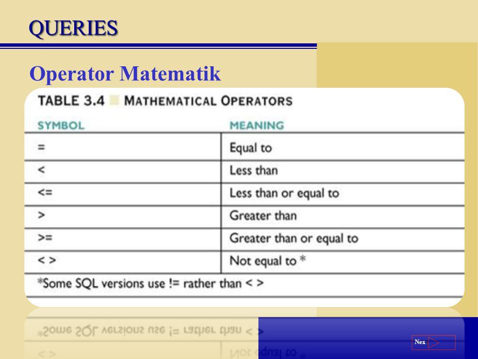 Next Operator Matematik QUERIESQUERIES