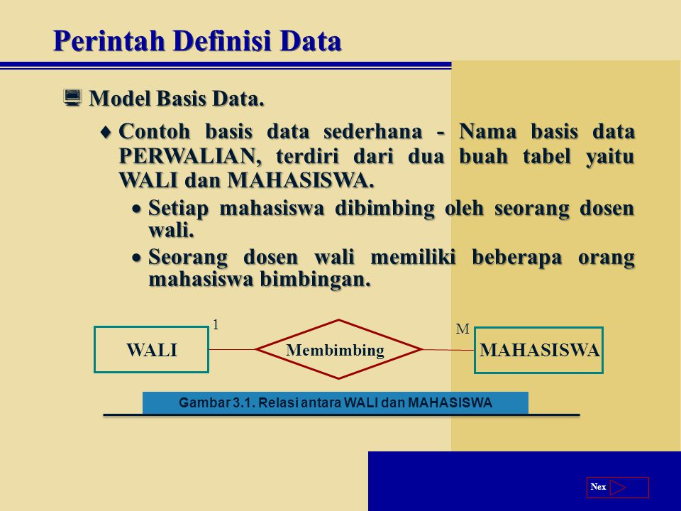 Next QUERIESQUERIES  Contoh: SELECT KD_WALI, NIP, NAMA FROM WALI WHERE JBT_FNG<>'Lektor'; SELECT NIP, NAMA, JBT_FNG FROM WALI WHERE KD_WALI>5; SELECT NOMHS, NAMA, SKS FROM MAHASISWA WHERE IPK>2.5; SELECT NOMHS, NAMA, IPK FROM MAHASISWA WHERE SKS<18;