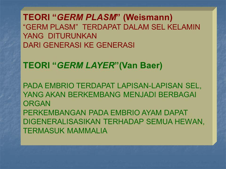 """TEORI """"GERM PLASM"""" (Weismann) """"GERM PLASM"""" TERDAPAT DALAM SEL KELAMIN YANG DITURUNKAN DARI GENERASI KE GENERASI TEORI """"GERM LAYER""""(Van Baer) PADA EMBR"""