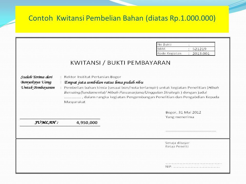 Contoh Kwitansi Pembelian Bahan (diatas Rp.1.000.000)