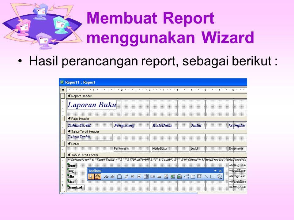 Membuat Report menggunakan Wizard Hasil perancangan report, sebagai berikut :