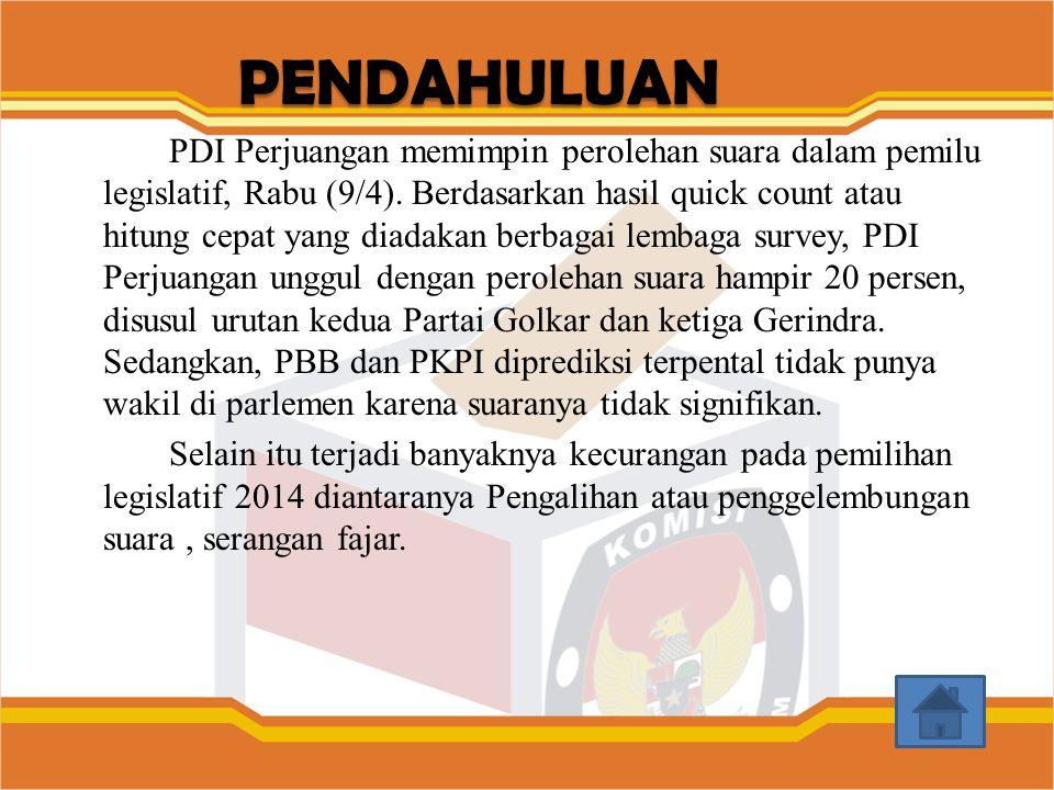 PDI Perjuangan memimpin perolehan suara dalam pemilu legislatif, Rabu (9/4). Berdasarkan hasil quick count atau hitung cepat yang diadakan berbagai le