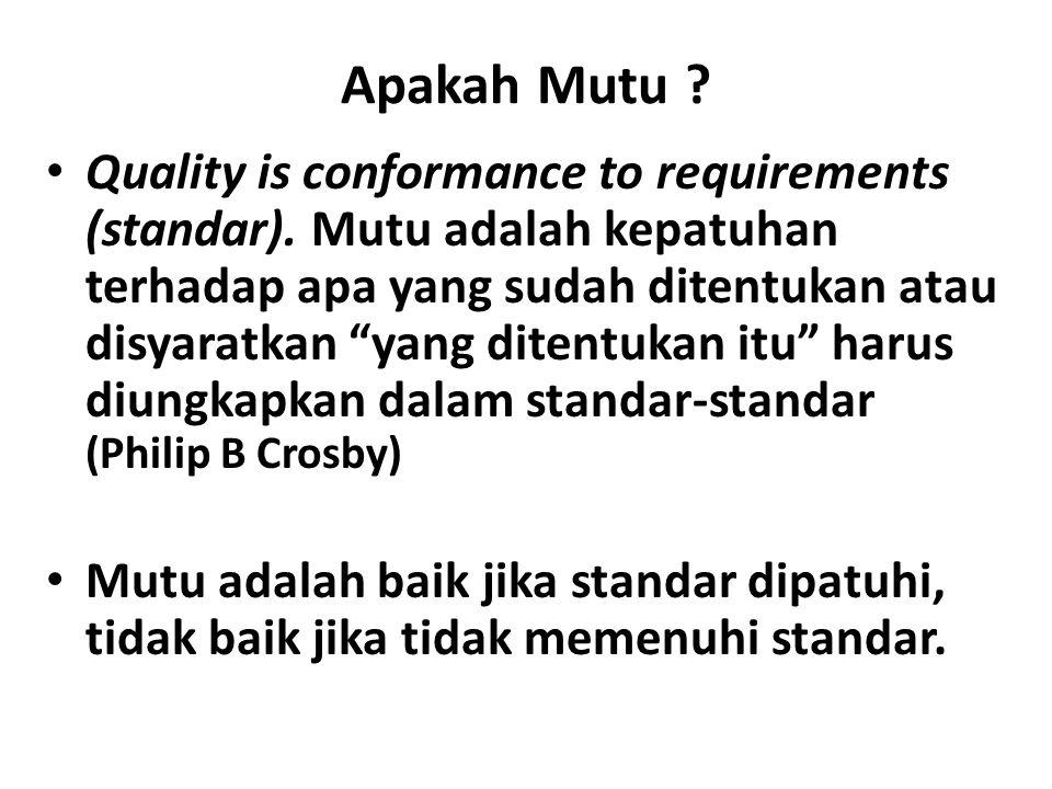 """Apakah Mutu ? Quality is conformance to requirements (standar). Mutu adalah kepatuhan terhadap apa yang sudah ditentukan atau disyaratkan """"yang ditent"""