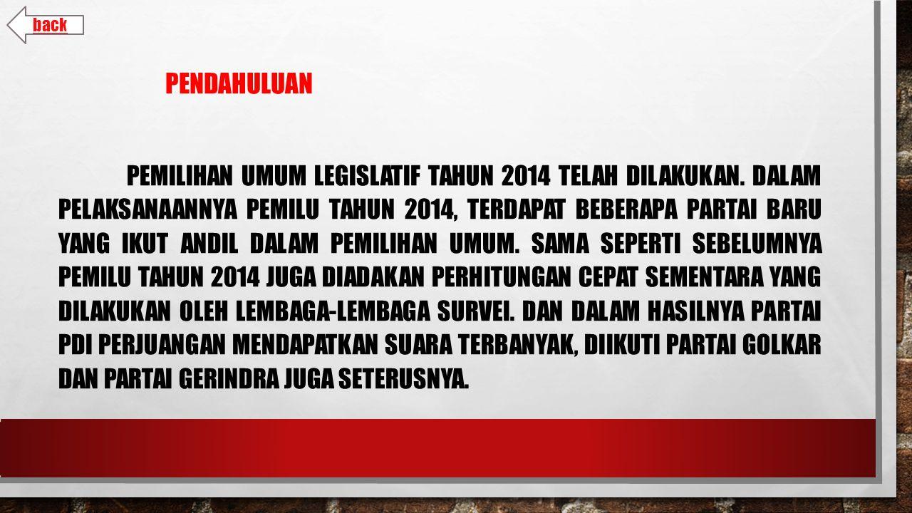 PENDAHULUAN PEMILIHAN UMUM LEGISLATIF TAHUN 2014 TELAH DILAKUKAN.