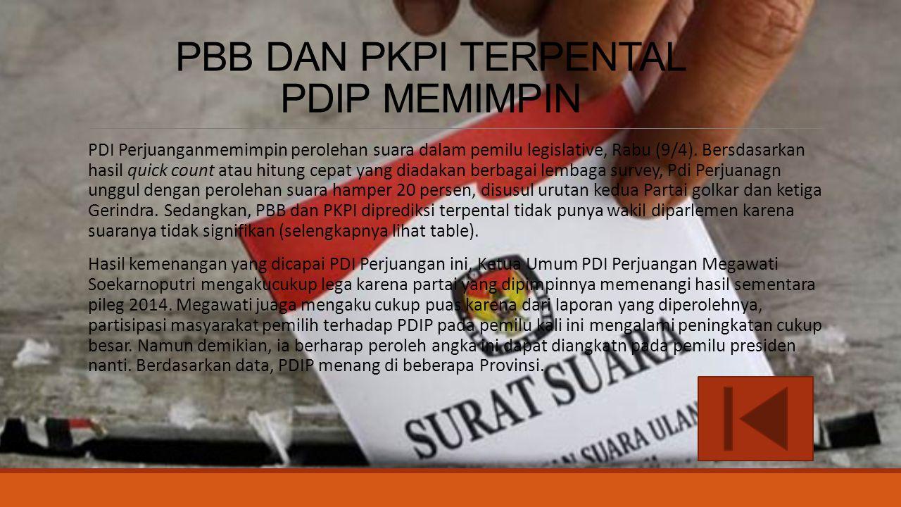 PBB DAN PKPI TERPENTAL PDIP MEMIMPIN PDI Perjuanganmemimpin perolehan suara dalam pemilu legislative, Rabu (9/4). Bersdasarkan hasil quick count atau