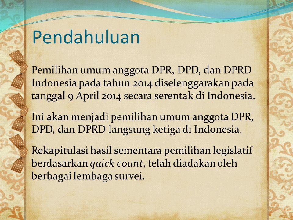 Pemilihan umum anggota DPR, DPD, dan DPRD Indonesia pada tahun 2014 diselenggarakan pada tanggal 9 April 2014 secara serentak di Indonesia. Ini akan m