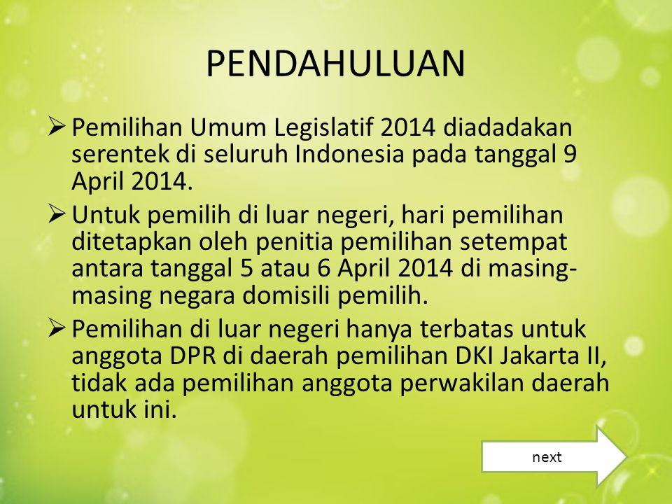  Pemilihan Umum Legislatif 2014 diadadakan serentek di seluruh Indonesia pada tanggal 9 April 2014.  Untuk pemilih di luar negeri, hari pemilihan di